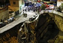 Massive sinkhole prompts evacuation of 22 families in Rome