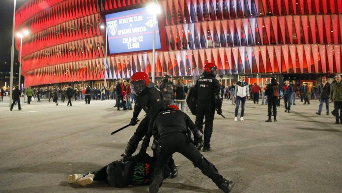 Officer dies in Spain football clashes